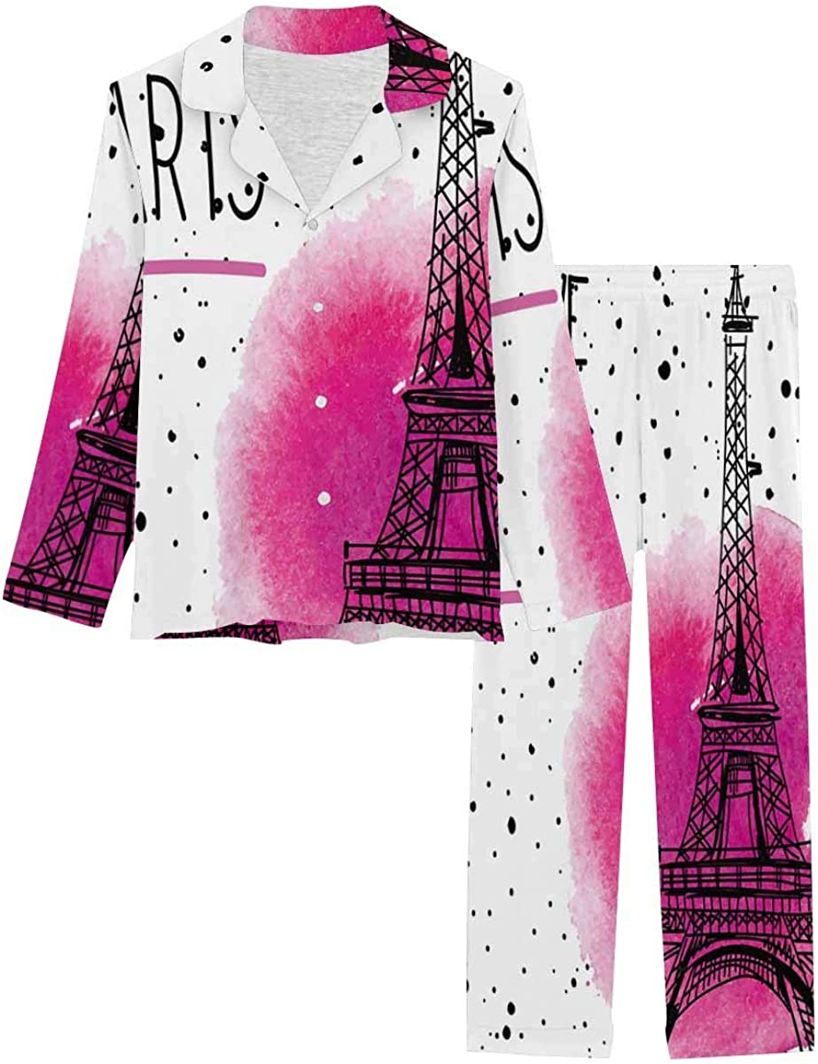 InterestPrint Button Down Nightwear Soft Long Sleeve Pj Set I Love Paris Eiffel Tower France