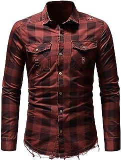 UJUNAORTOP Men's Slim Fit Button Plaid Shirt with Pocket Long Sleeve Tops Blouse