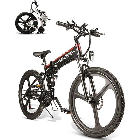 SAMEBIKE Bicicleta de montaña eléctrica 26 Pulgadas Rueda Plegable Ebike 350W 48V 10AH Bicicletas eléctricas de montaña para Adultos