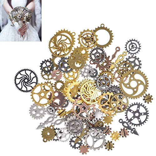 Material: Steam punk jewelry are made from alloy metal. Suitable as an ornament to decorate your own crafts. Applications: Vintage wheels gears suit for use as necklace pendants, vintage wedding decor and escort cards, scrap booking, and other crafts...