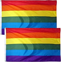 LSIKA-Z Gay Pride Banner Flags LGBT Rainbow Flag 2 Pack 3 x 5 Foot Flag with 2 Brass Grommets Bright Color UV Fade Resistant and Canvas Header (Rainbow Flag)