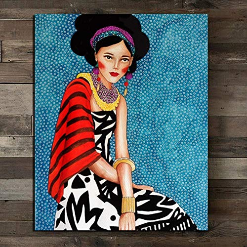 Cartel moderno chica con pendientes Cuadros arte de la pared pintura al óleo cartel lienzo pintura sala de estar decoración del hogar pintura sin marco A77 50x70cm