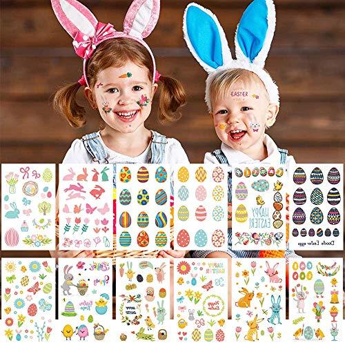 GoHist Pegatinas para huevos de Pascua, diseño de conejos de Pascua, pollitos y flores, decoración de Pascua