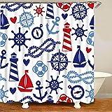 XCBN Náutico Azul Marino Ancla Rueda Cuerda Faro Faro Ducha habitación para niños océano Cortina de baño decoración del hogar A3 90x180cm
