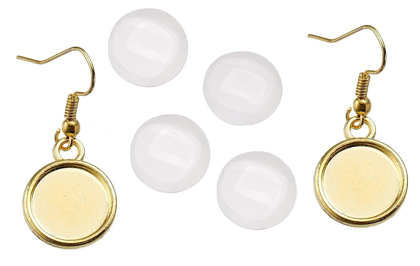 Earring Wire Hooks by JGFinds - 12mm Cabochon Settings, 40 Pack + 95 Glass Cabochons (Gold Tone)