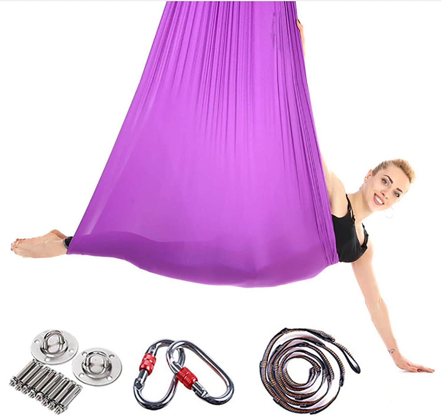 Aerial Yoga Hammock, AntiGravity Yoga Workout Swing, Pilates Yoga Exercise Sets Safe Deluxe with Extension Belt,Purple1