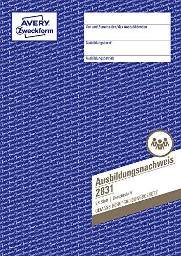 AVERY Zweckform 2831 Ausbildungsnachweis (DIN A4, Heftform, von IHK anerkannt, für Deutschland, speziell konzipiert für die Führung von Berichtsheften in der Berufsausbildung, 28 Blatt) weiß