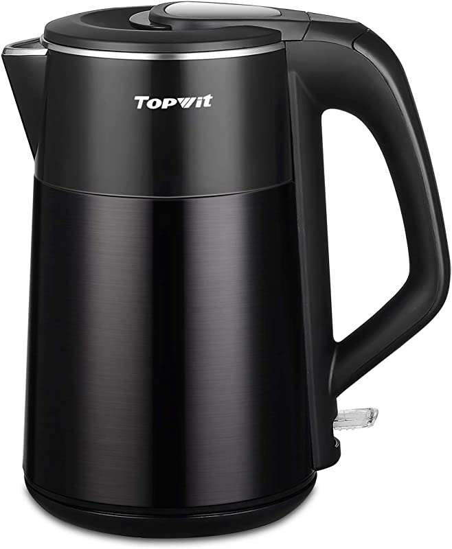 Topwit Electric Kettle Double Wall 304 Stainless Steel Integrated Seamless Interior 1 7L Cordless Hot Water Heater Boiler Coffee Kettle Tea Pot With Auto Shut Off And Boil Dry Protection