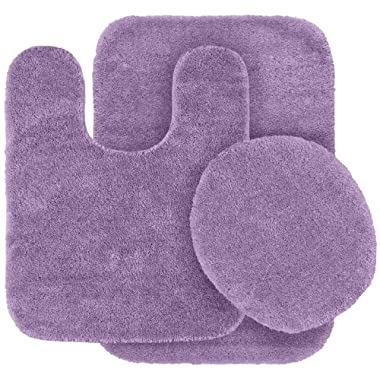 Garland Rug 3-Piece Traditional Nylon Washable Bathroom Rug Set, Purple