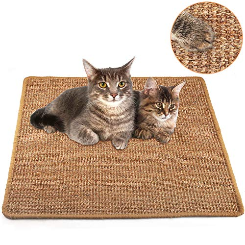 "Cat Scratcher Mat, Natural Sisal Cat Scratching Carpet Pad, Floor Scratching Rug, Anti Slip Cat Scratching Mat for Cat Grinding Claws & Protecting Furniture (23.6"" x 23.6"")"
