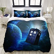 HKIDOYH Duvet Cover Set,Doctor Who Theme of Movie Space Art Print,Polyester 3 Piece Bedding Set with 2 Pillow Cases,Double