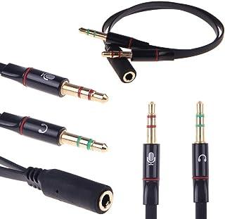 3.5mm オーディオ分配ケーブル メス- 2 オス ヘッドホン ステレオ マイク分岐 変換ケーブル 金メッキプラグ-ブラック