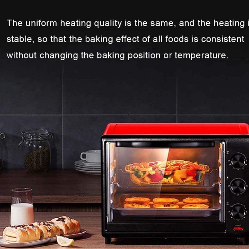QTRT Mini-Cuisine avec 60 litres à Double Four, Boutons de, Facile à Utiliser, Tube supérieur de contrôle de température indépendant,Red Red