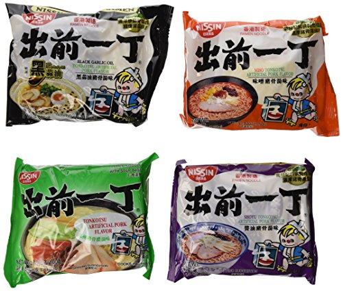 Nissin Demae Ramen Variety Pack (Tonkotsu Series) (Pack of 16 with 4 Each Flavor)