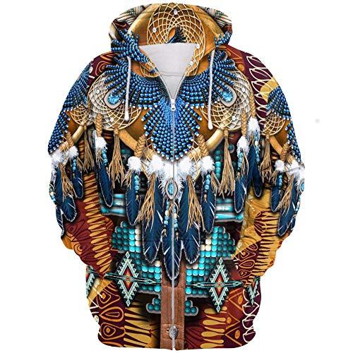 Godmoy Sudadera con Capucha Unisex de los nativos Americanos Chaqueta de la Sudadera de los Indios Cutral, Traje de Calavera de Sol Swae Wolf Colorido Retro Niño Mujer Hombre