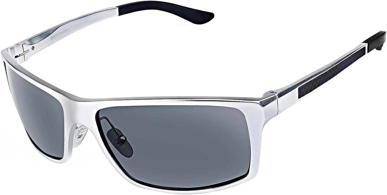 Duco Lunettes de soleil homme Lunettes de sport polarisées - Lunettes de conduite avec monture en métal Incassable - 100% anti UV400 8202 Argenté