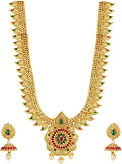 Jewellery Bollywood Ethnic Gold Plated Traditional Indian Necklace Set with Earrings for Women
