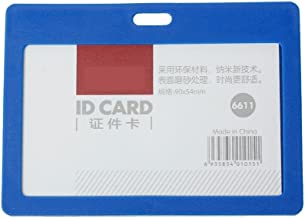 CKB Ltd 50X Blue Enclosed Plastic Pass Rigid Holder Colour Frame Deluxe - Horizontal/Landscape Identity Id Card Pass Badge Holder Pocket Holder Pouches 102Mm X 78Mm/Holds A Card Up to 90Mm X 54Mm