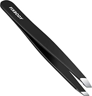 FIXBODY Stainless Steel Slant Tip Tweezer, Professional Eyebrow Tweezers for Your Daily Beauty Routine, Black