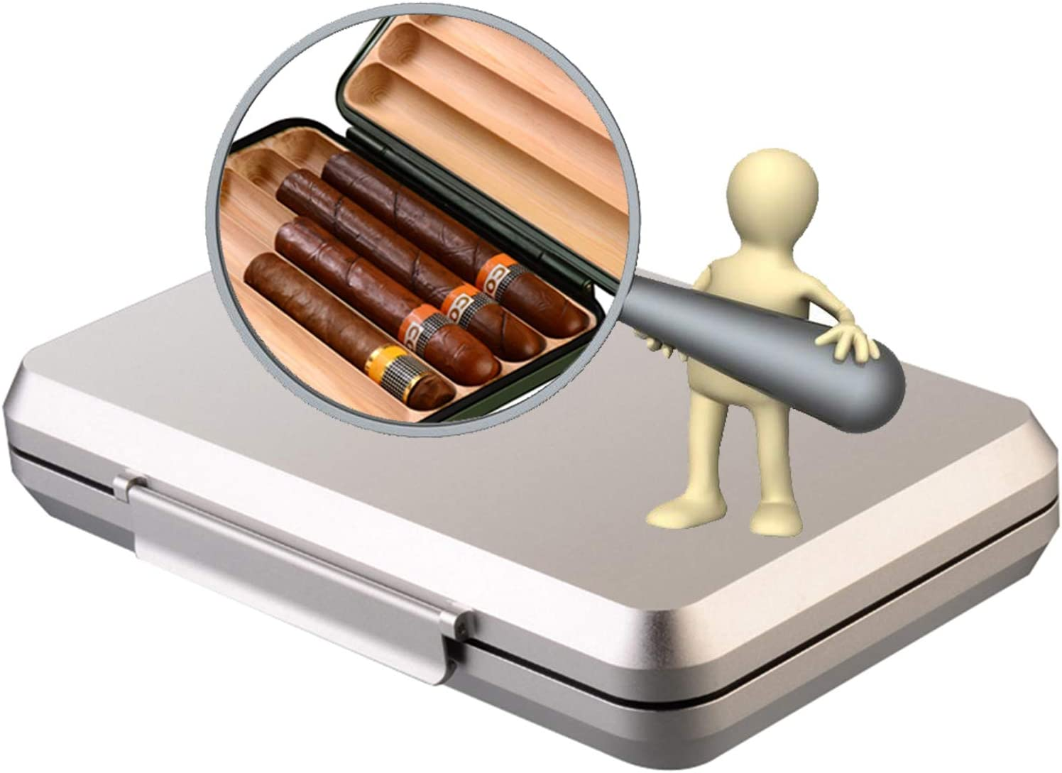 JHKJ Cigar Max 67% OFF Humidor Compact Case Challenge the lowest price of Japan - Aluminum Portable C Box Travel
