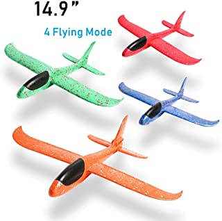 JCREN 4 PCS 14.9inch Airplane Toys,Large Throwing Foam Plane,4 Flight Mode Glider Plane Best Outdoor Sport Game Flying Toys for Kids Birthday Party Favors Foam Airplane(14.9inch)