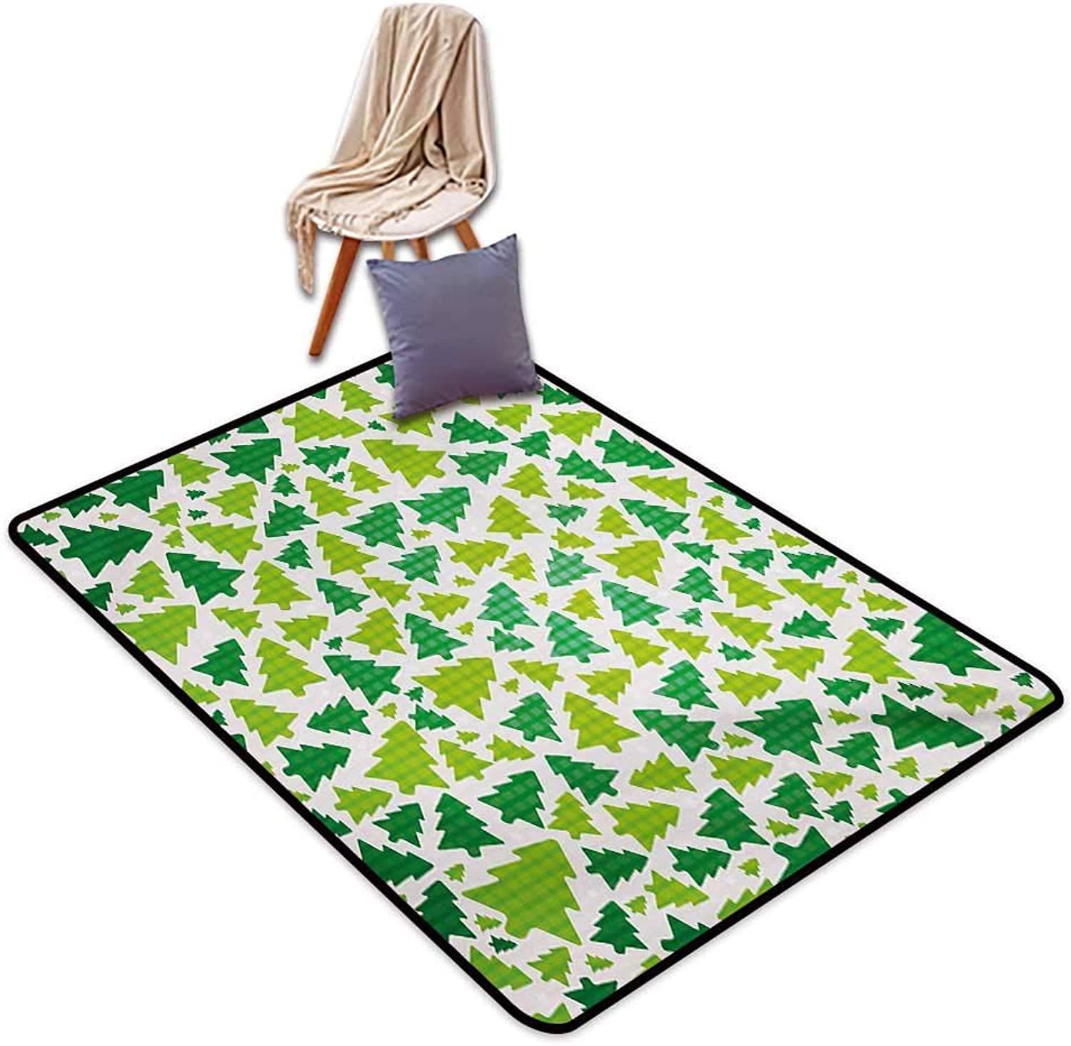 Christmas Large Outdoor Indoor Rubber Doormat Simplistic Fir Pine Tree Silhouettes with Checkered Pattern Water Absorption, Anti-Skid and Oil Proof 48  Wx59 L Fern Green Apple Green White