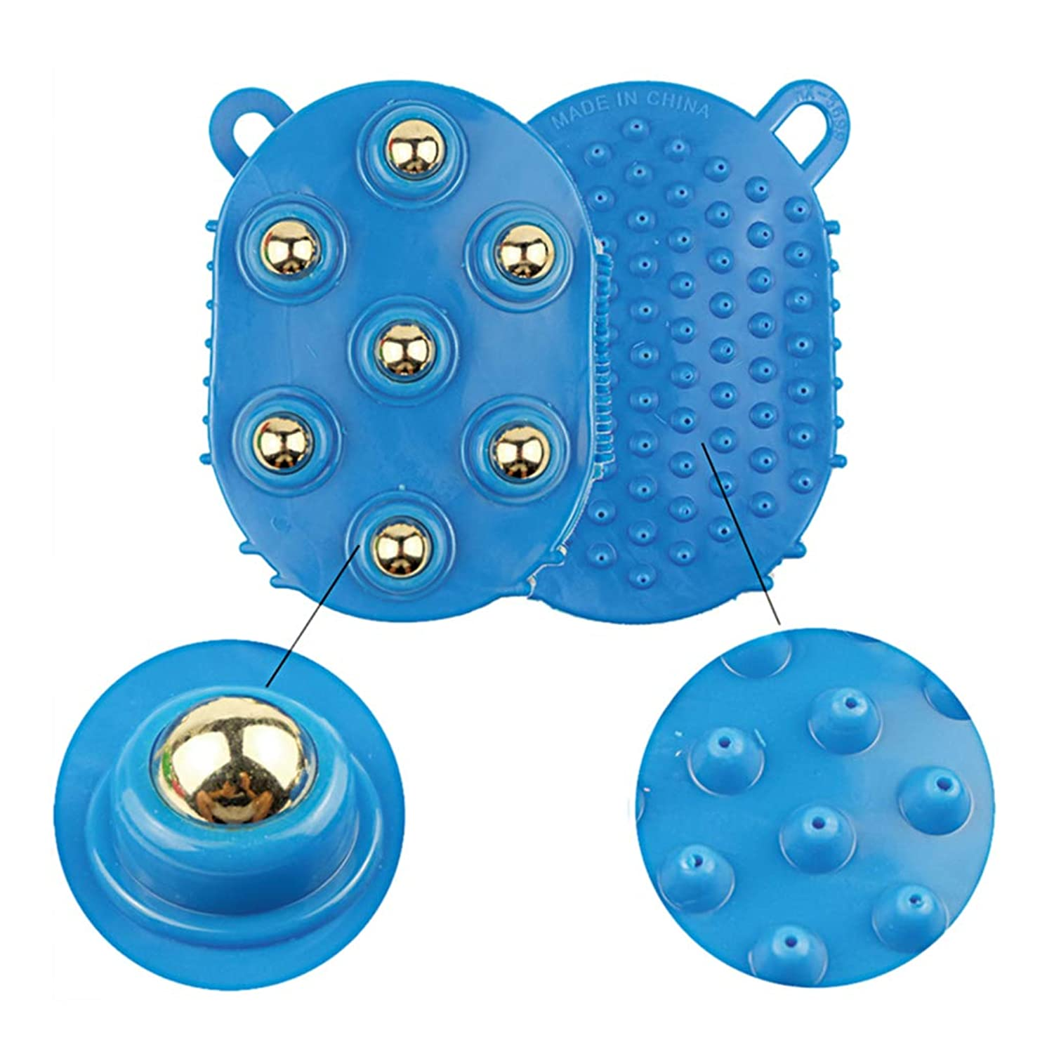 多用途退院キャメル360度スピン7ピーススチールボールローラー痩身ボディマッサージブラシバスで洗うディープティッシュマッサージボールスパイク付き(1パック),Blue