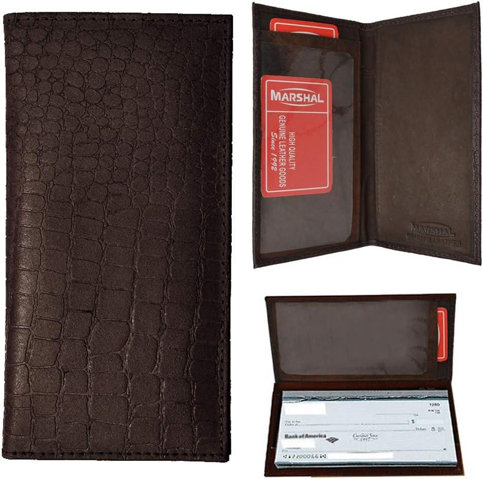 Generic 1 Genuine Leather Crocodile Checkbook Cover Wallet Organizer Credit Card Holder,Brown