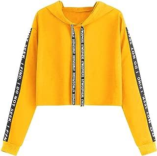 Long Sleeve Crop Top Hoodie for Women, Women's Sporty Graphic Color Block Pullover Hoodie Crop Sweatshirt