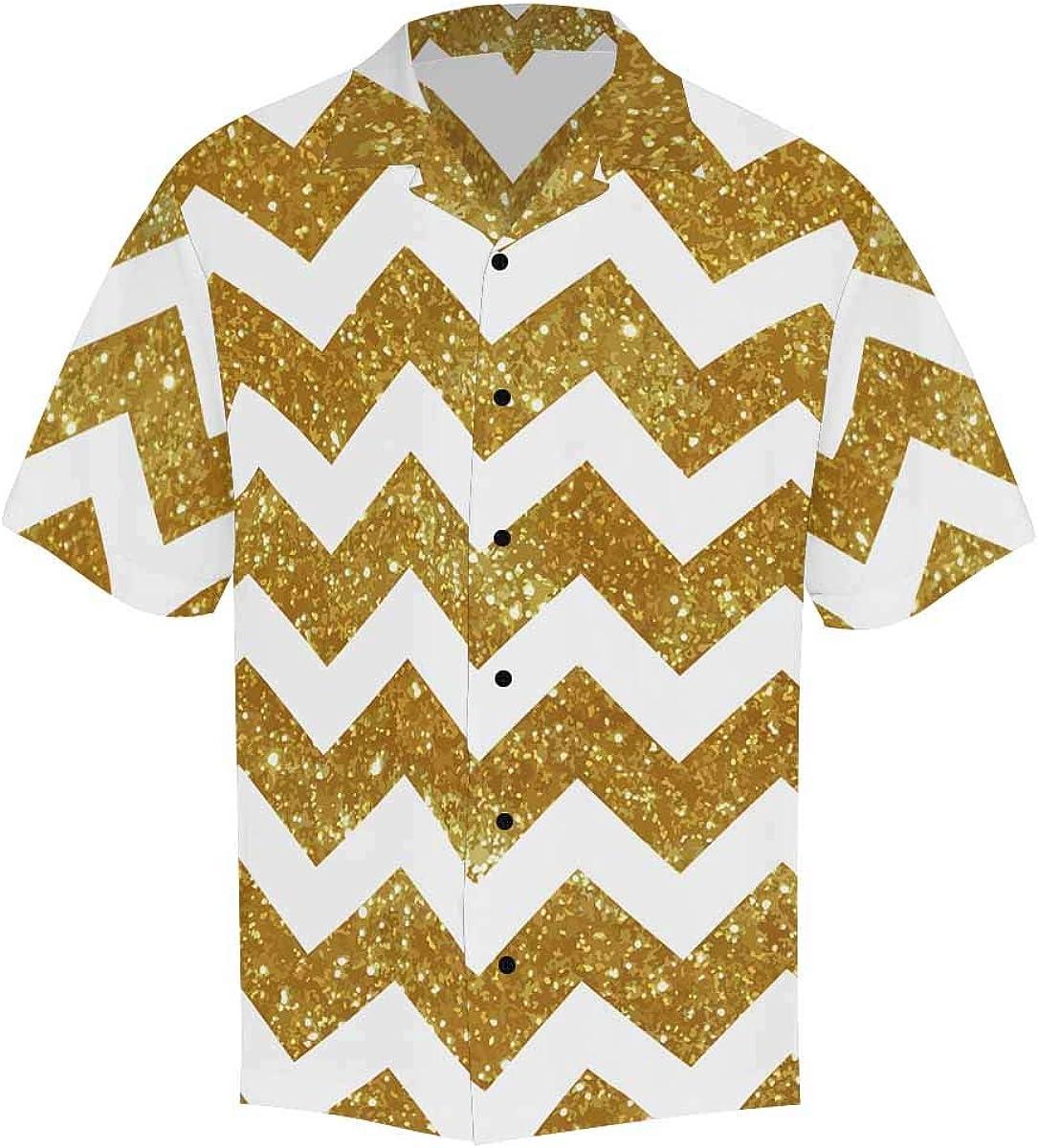 InterestPrint Men's Casual Button Down Short Sleeve Geometric Triangle Chervon Hawaiian Shirt (S-5XL)