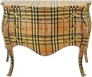 Casa-Padrino cómoda Barroco con 3 cajones Beige/Rayas 120 x 50 x H. 80 cm - Muebles Barrocos Hechos a Mano