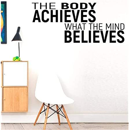 Printique Vinyl Wall Art Decal The Body Achieves What The Mind Believes Modern Motivational Quote Sticker for Gym Bedroom Closet Home Work Office Living Room Classroom Decor Black 13 x 25