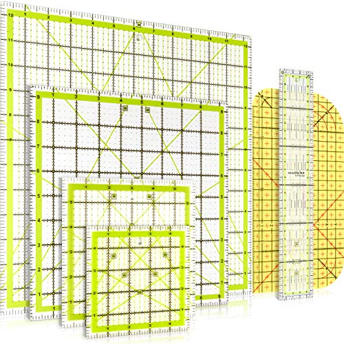 6 Stück Quilten Lineal Quadrat Acryl Quilten Lineal Stoff Schneidelineal Klar Mark Acryl Lineals und Bügeln Lineal (4,5 x 4,5 Zoll, 6 x 6 Zoll, 9,5 x 9,5 Zoll, 12,5 x 12,5 Zoll)