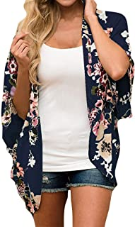 Kimonos for Women Beach,SMALLE◕‿◕ Womens Beach Cover Up Floral Floral Print Chiffon Summer Loose Kimono Cardigan Capes