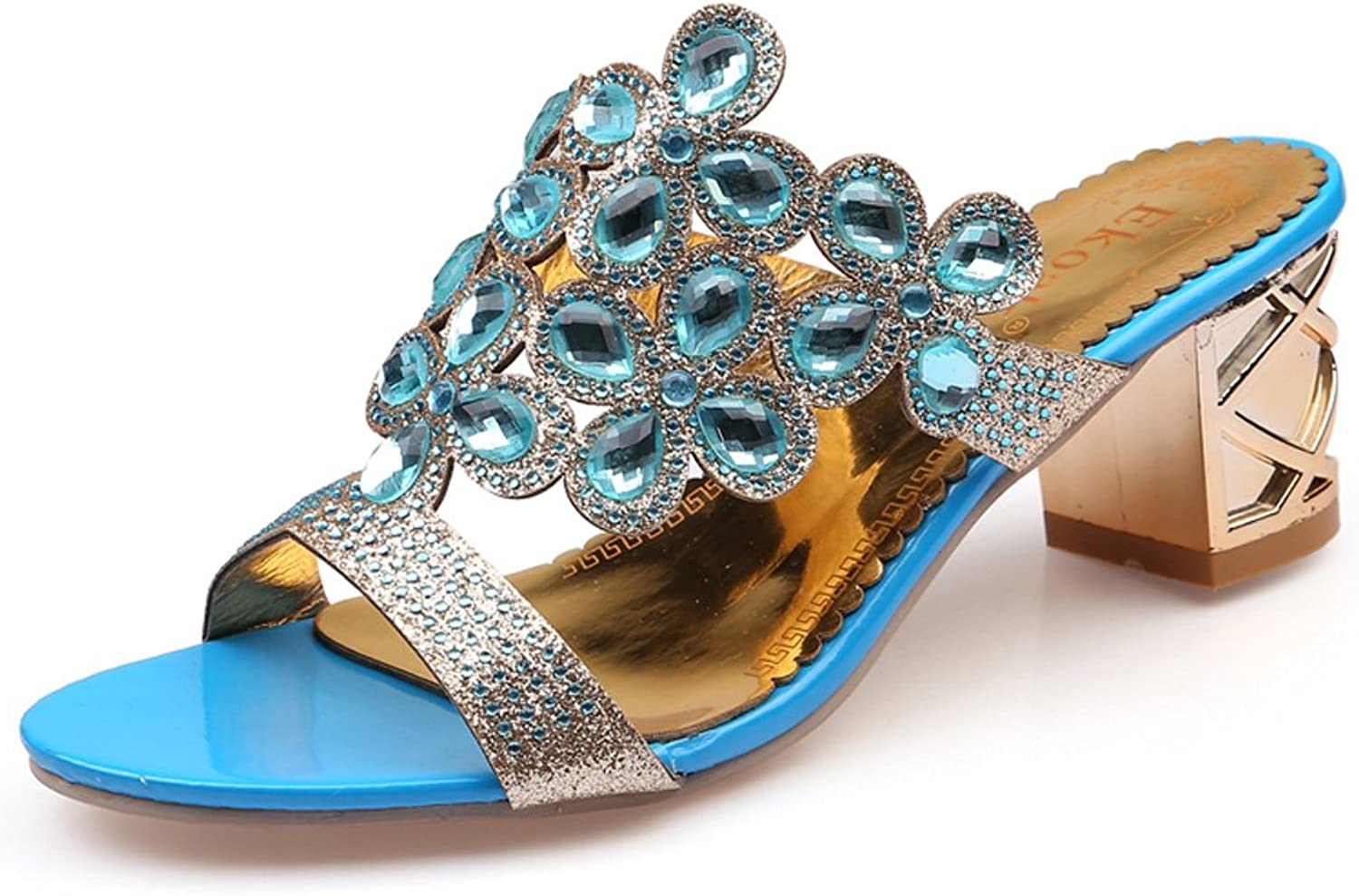 Genepeg Womens Sandals Summer Fashion Big Rhinestone Cut-Outs High Heel Party shoes Sky bluee