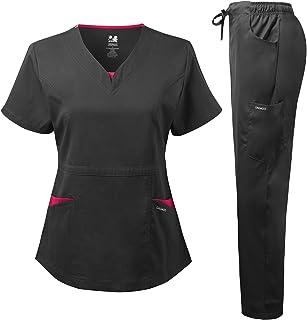 Dagacci Medical Uniform Women's Scrubs Set Stretch Split Contrast Net and Pocket