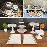 6 Set Metal Crystal Cake Holder Cupcake Stand Cake Dessert Holder with Pendants and Beads,...