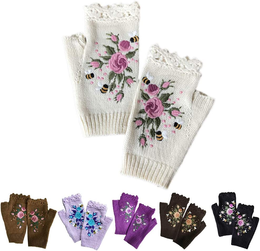 WANGFUFU Women Winter Knitted Fingerless Gloves Floral Bee Embroidery Thumbhole Mittens for Daily Wearing Outdoor