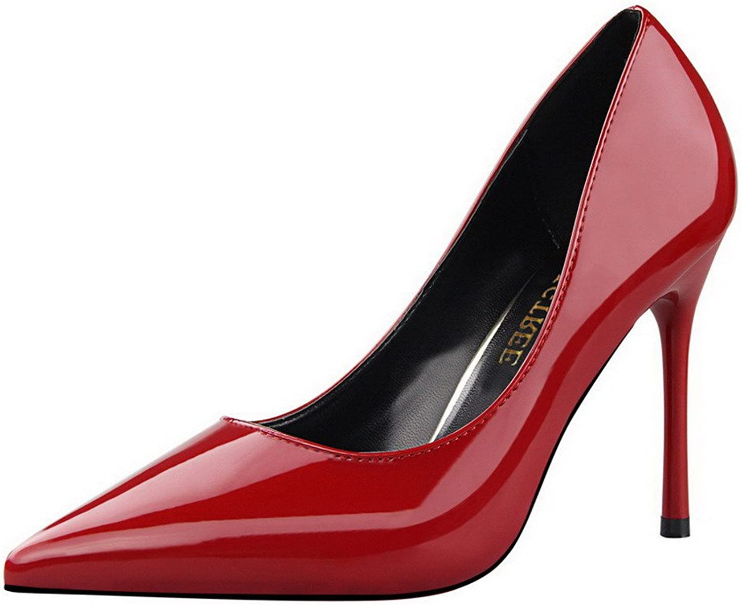 WeiPoot Women's PU Pull-On Closed-Toe High-Heels Solid Pumps-shoes, Red, 39