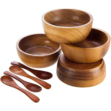 Bestysuperstore Acacia Wood Bowl In Small Size For Condiments Dip Sauce Ketchup Jam Prep Olive And Salsa Dia 2 75 X 1 5 H Set Of 4 Free 4 Wood Spoons Serving Bowls