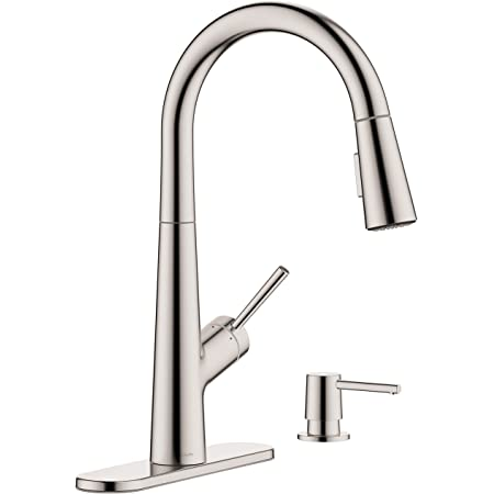 Amazon Com Hansgrohe Lacuna Kitchen Faucet 1 Handle 17 Inch Tall Pull Down Sprayer In Stainless Steel Optic 04749805 Home Improvement