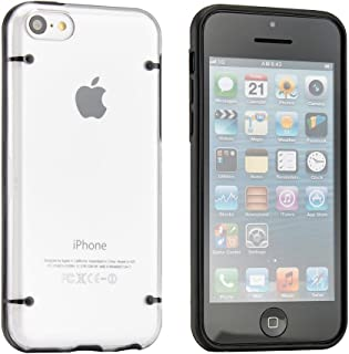 Easygoby Ultra Slim Luminescent Glow in the Dark TPU Frame Bumper Case with Clear Transparent Back Cover Hardshell For Apple iphone 5C (2013 Model) ,Black