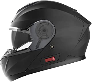 Motorcycle Modular Full Face Helmet DOT Approved - YEMA YM-926 Motorbike Moped Street Bike Racing Flip-up Helmet with Sun Visor Bluetooth Space for Adult,Youth Men and Women - Matte Black,XL