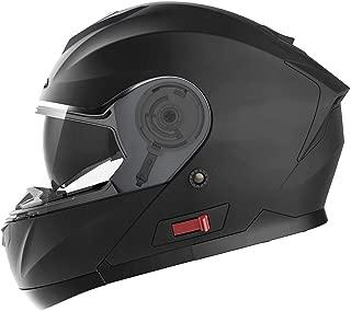 Casco Moto Modular ECE Homologado - YEMA YM-926 Casco de Moto Integral Scooter para Mujer Hombre Adultos con Doble Visera-Negro Mate-M