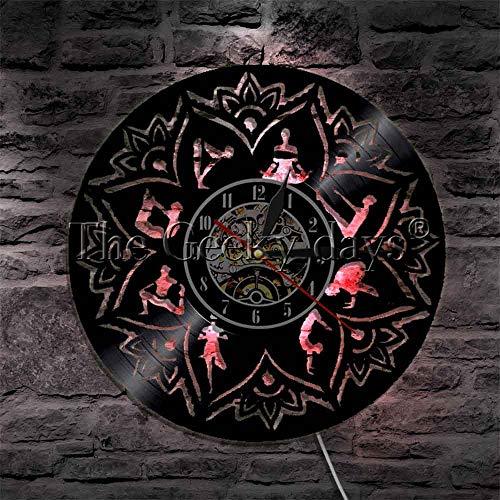 LTOOD 1 stuk Yoga Mandala Klok Chakra Yoga Meditatie Kamer Decor Surya Namaskara Vinyl Record Wandklok Creatieve Uurwerk Horloge