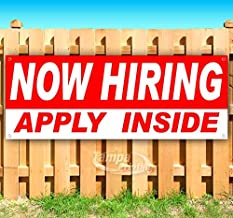 Now Hiring Apply Inside 13 oz Banner | Non-Fabric | Heavy-Duty Vinyl Single-Sided with Metal Grommets
