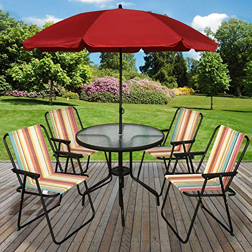 Marko Outdoor 6PC Garden Patio Furniture Set Outdoor Striped 4 Seat Round Table Chairs & Parasol