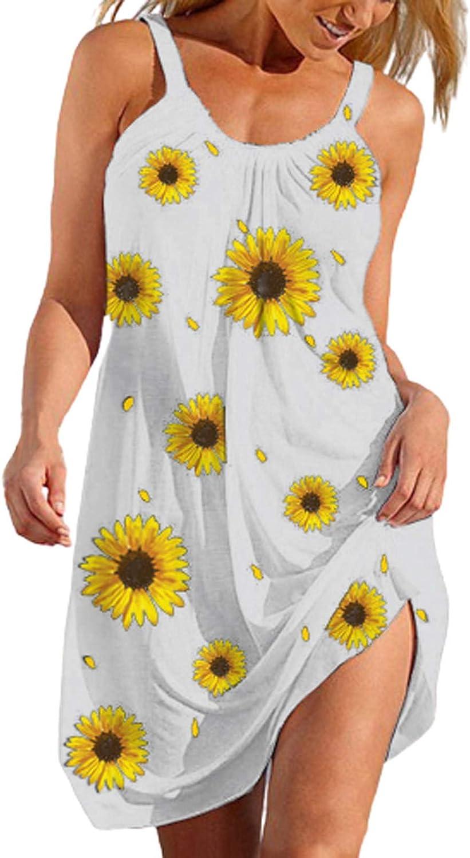 Oiumov Summer Dresses for Women Beach Cute Sunflower Print Spring Dress Sundress Sleeveless Casual Boho Cover Up Dress