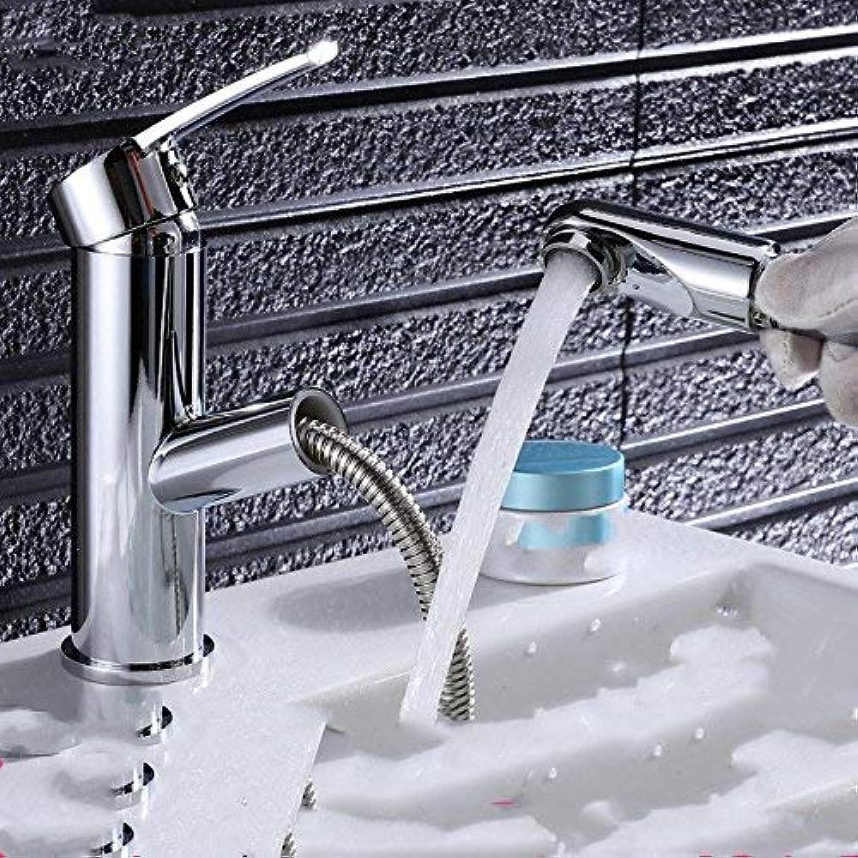 XTXWEN Armaturen Sink Taps Das Bad ziehen hei und kalt voll Kupfer Einlochmontage skalierbare Waschbecken Armaturen