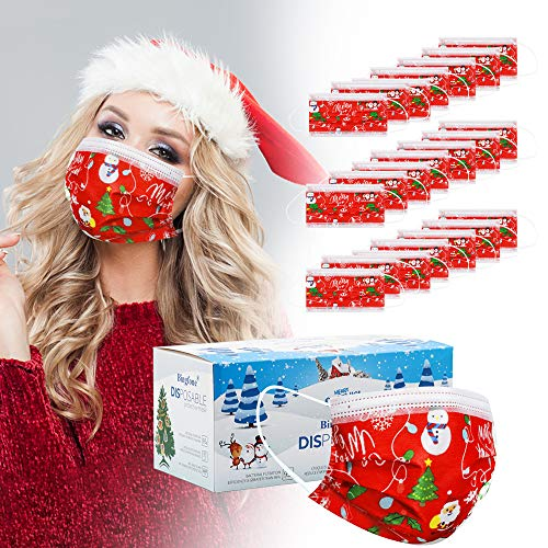 Christmas Masks Disposable for Women - 50 pcs Christmas mask Disposable for Adult 3 Layer Christmas Masks for Man with Nose Clip and Ear Loops